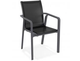 Chaise de jardin avec accoudoirs 'CINDY' en matière plastique grise empilable
