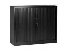 Lage kantoorkast met roldeur 'CLASSIFY' zwart - 100x120 cm