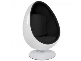 Wit en zwarte eivormige zetel 'COCOON' eistoel