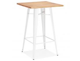 Hoge industriële tafel 'DARIUS' van donker hout met witte metalen poten