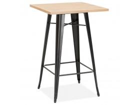Hoge industriële tafel 'DARIUS' van licht hout met zwarte metalen poten