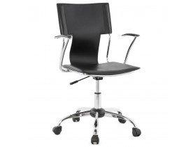 Bureaustoel 'EVO' uit zwart imitatieleder op wieltjes en met armleuningen