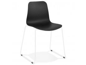EXPO' moderne zwarte stoel met witmetalen poten