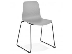 Moderne, grijze stoel 'EXPO' met poten van zwart metaal