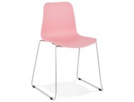 Moderne stoel 'EXPO' van roze kunststof met verchroomd metalen voeten