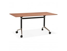 Groot opklapbaar bureau 'FLEXO' op houten wielen. walnoot hout afwerking - 160x80 cm