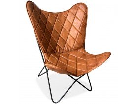 Vlinderstoel 'FOX' in bruin leer met ruitvormige stiksels
