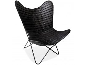 Vlinderstoel 'FOX' in zwart leer