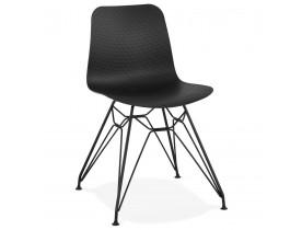 Design stoel 'GAUDY' zwart industriële stijl met zwart metalen voet