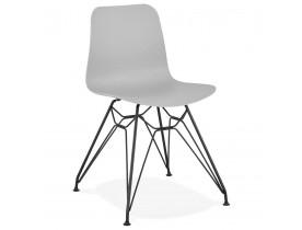 Design stoel 'GAUDY' grijs industriële stijl met zwart metalen voet