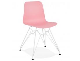 Moderne stoel 'GAUDY' roze met wit metalen voet