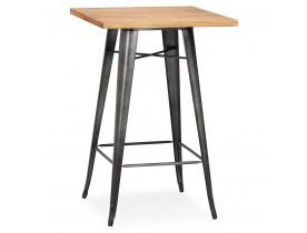 Industriële hoge tafel 'GRAMY' van donker hout met grijze metalen poten - 70x70 cm