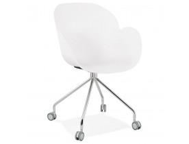 Design bureaustoel 'JEFF' wit op wieltjes