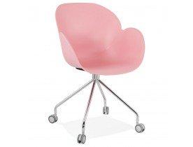 Design bureaustoel 'JEFF' roze op wieltjes