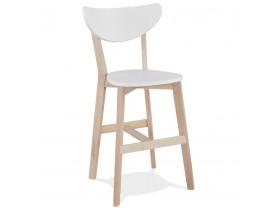 Witte halfhoge kruk 'LEONARDO MINI' met structuur van natuurlijk afgewerkt hout - bestel per 2 stuks / prijs voor 1 stuk