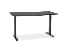 Rechte zit-/stabureau 'LIVELLO' van hout en zwart metaal - 140x70 cm