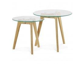 Inschuifbare ronde tafel 'LOVYOU' van glas