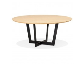 Ronde eettafel 'LULU' van zwart metaal en natuurkleurig hout - Ø120 cm