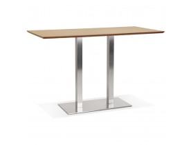 Hoge design tafel 'MAMBO BAR' van natuurlijk afgewerkt hout met geborsteld metalen poot - 180x90 cm