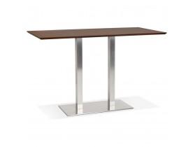 Hoge design tafel 'MAMBO BAR' met notenhouten afwerking en geborsteld metalen poot - 180x90 cm