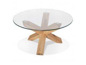 Ronde salontafel 'MAGIK' van glas en massief hout