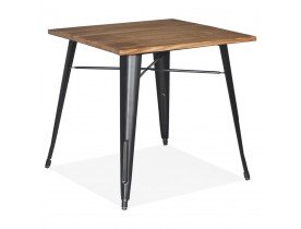 Vierkante industriële tafel 'MARCUS' van donker hout met zwarte metalen poten - 76 x 76 cm