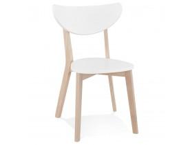 Witte moderne stoel 'MONA' en frame van natuurlijk afgewerkt hout - bestel per 2 stuks / prijs voor 1 stuk