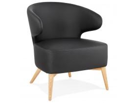 Loungestoel 'NORMAN' zwarte en natuurlijke afwerking houten poten