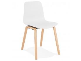 Scandinavische stoel 'PACIFIK' wit met natuurlijk houten poten