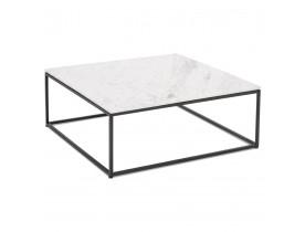Vierkante salontafel 'PATIO' van wit marmer en zwart metaal