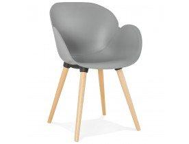 Scandinavische design stoel 'PICATA' grijs met houten poten