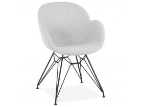 Designstoel 'PLANET' in lichtgrijze stof met zwart metalen onderstel