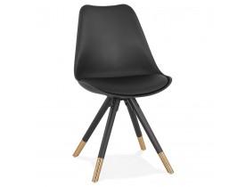 Zwarte stoel 'RADIO' met design poten in gouden afwerking