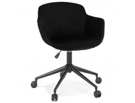 Chaise de bureau 'ROLLING' en velours noir sur roulettes