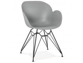 Design stoel 'SATELIT' grijs industriële stijl met zwart metalen voeten