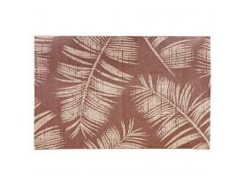Bruin-rood design tapijt 'SEQUOIA' 200x290 cm met palmbladmotief - binnen/buiten