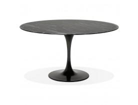Ronde eettafel 'SHADOW' van zwart glas met marmereffect - Ø 140 cm