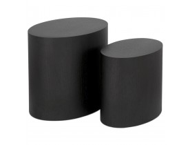 Set van twee bijzettafels 'SOKLE' in zwart hout