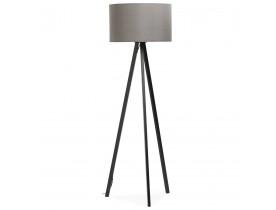 Staande lamp op driepoot 'SPRING' met grijze lampenkap en 3 zwarte poten