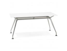 Recht modern bureau 'STATION' met een wit, glazen tafelblad - 160x80 cm