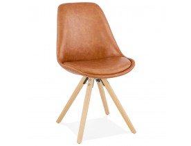 Design stoel 'STREET' van bruin synthetisch materiaal