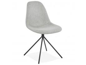 Designstoel 'TAMARA' in grijze stof met zwart metalen voet