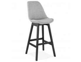 Design barkruk 'TERESA' in grijze stof en voet van zwart hout