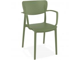 Geperforeerde stoel met armleuningen 'TORINA' van groene kunststof