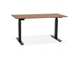 Zwarte elektrische zit/sta-bureau 'TRONIK' met blad in notenhouten afwerking - 140x70 cm