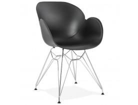 Moderne stoel 'UNAMI' van zwart kunststof met verchroomd metalen voeten