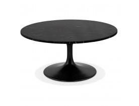 Lage salontafel 'URSUS MINI' van zwart gemarmerde steen met centrale poot