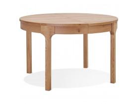 Ronde uitschuifbare eettafel 'VINUS' in hout met natuurlijke afwerking - Ø 120(180) x 120 cm