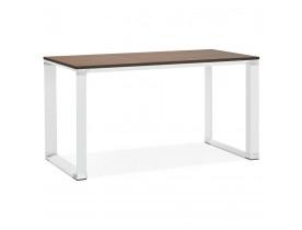 Klein recht designbureau 'XLINE' met notenhouten afwerking en wit metaal - 140x70 cm