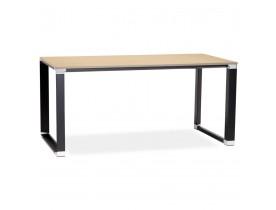 Recht design bureau 'XLINE' met natuurlijke houten afwerking en zwart metaal - 160x80 cm